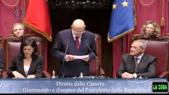 Napolitano Presidente della Repubblica, il discorso in Parlamento