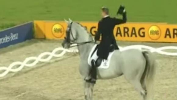 Un cavallo si posiziona al centro del campo. La sua esibizione sbalordisce tutta la platea