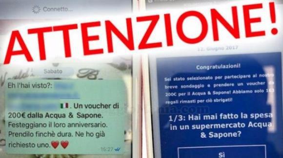 """Truffa su WhatsApp: ora tocca ai finti coupon """"Acqua e Sapone"""" da 200 euro"""
