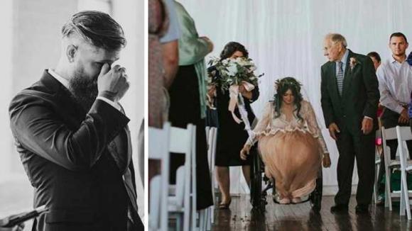 Lo sposo attende la moglie paralizzata all'altare. Quando vede ciò che fa la sposa, scoppia in lacrime