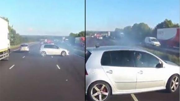 Un'auto inizia a sbandare mentre sopraggiunge un tir. La telecamera di bordo riprende quel momento!
