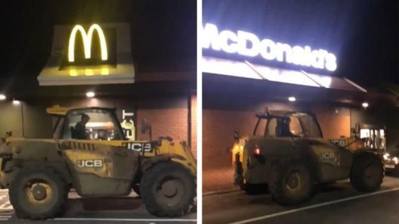 Operaio assetato ordina da bere al McDonald's a bordo dell'escavatore: la scena è esilarante