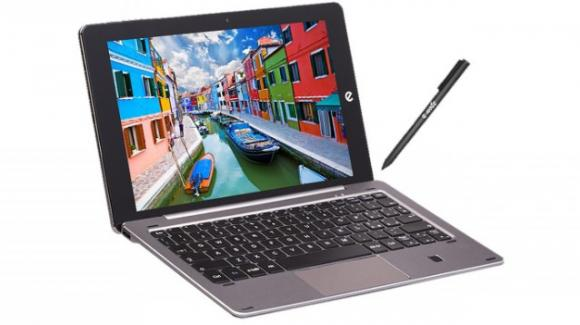 Microtech e-tab Pro: basato su Windows 10, il tablet 2-in-1 con coverback tastiera, e penna capacitiva