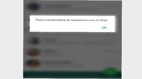 WhatsApp: già attiva in Italia la limitazione degli inoltri massimi simultanei a 5