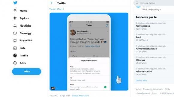 Twitter: in corso il test per le notifiche delle risposte ai tweet attenzionati