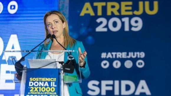 Giorgia Meloni ad Atreju 2019 ha parlato del rilancio della coalizione del centrodestra