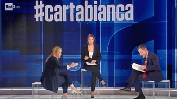 Giorgia Meloni battibecca con Massimo Giannini e Bianca Berlinguer