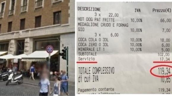 Roma, 120 euro per 4 panini: lo scontrino è regolare