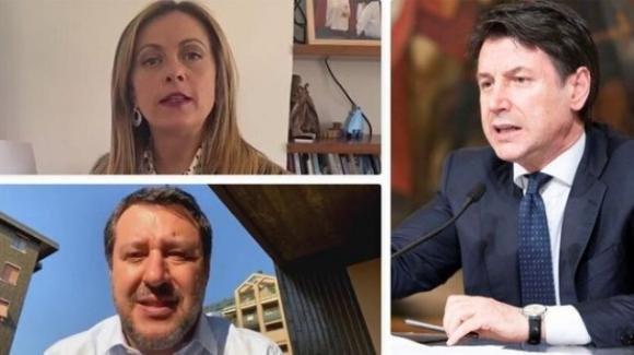 Matteo Salvini e Giorgia Meloni accusano Giuseppe Conte di usare metodi da regime