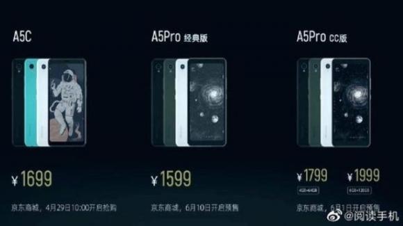 Hisense A5C, A5 Pro Classic eA5 Pro CC: smartphone con display e-ink anche a colori