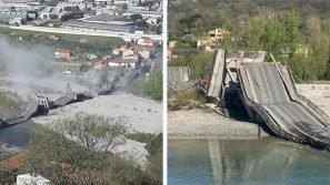 Massa Carrara: crolla ponte ad Albiano. Due furgoni coinvolti
