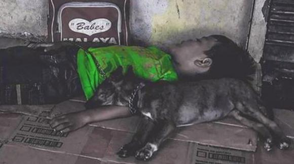 Bimbo senzatetto dorme con il suo cane per strada: la foto fa il giro del web