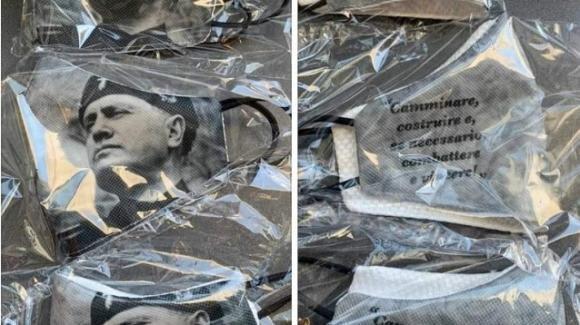 Verona, un'azienda produce mascherine per combattere il Coronavirus col volto di Benito Mussolini: è polemica