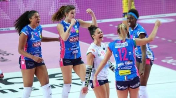 Volley femminile: Novara vince 3-0 contro Scandicci