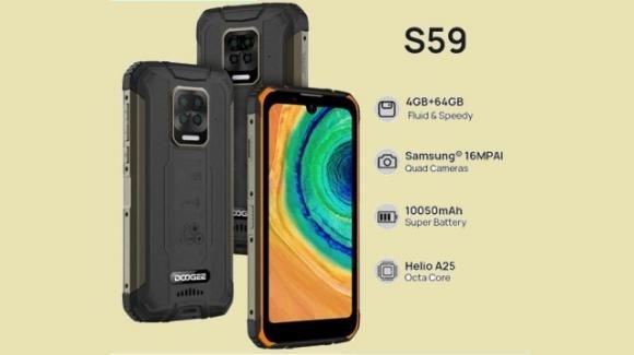 Doogee S59: rugged phone ufficiale con maxi batteria ed NFC