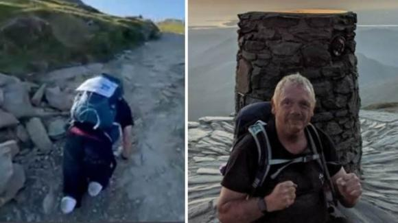 Paul sale fino in vetta senza gambe: l'obiettivo è raccogliere fondi per i bimbi amputati