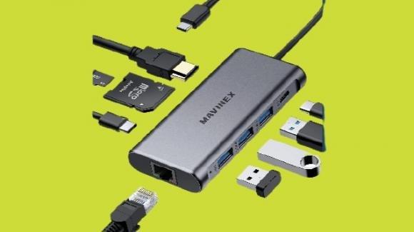 Mavinex M01: hub 9 in 1 con lettore schede, HDMI, USB ed Ethernet