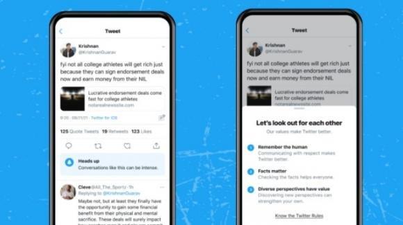 Twitter testa gli avvisi mettono in guardia sull'aria che tira nelle conversazioni