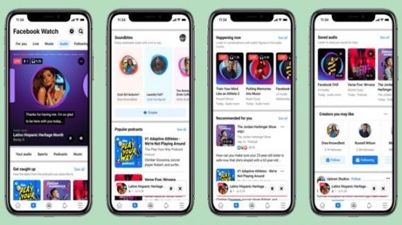 Facebook: novità per podcast, Live Audio Rooms, Soundbites, e hub Audio unificato