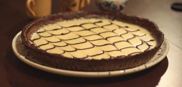 Crostata con crema al cioccolato bianco e nutella