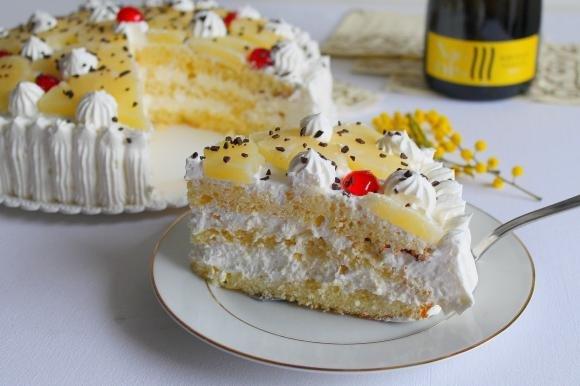Torta ananas e panna
