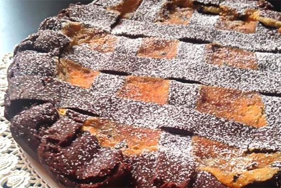 Crostata al cacao con ricotta, mascarpone e gocce di cioccolato