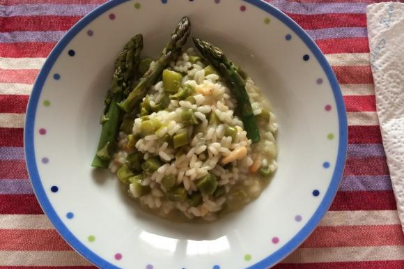 Risotto asparagi, gamberetti e grana