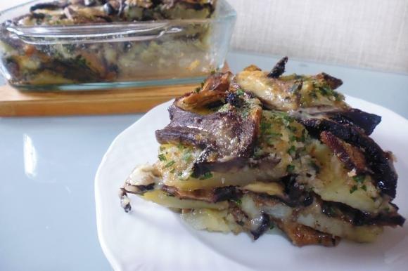 Funghi, patate e taleggio al gratin
