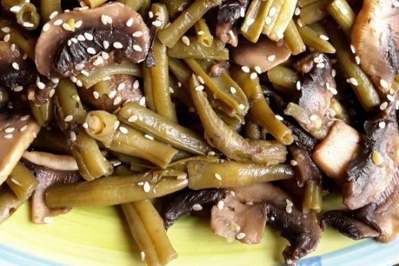 Fagiolini e funghi in salsa tamari