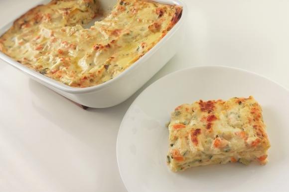 Lasagne bianche con carote e zucchine
