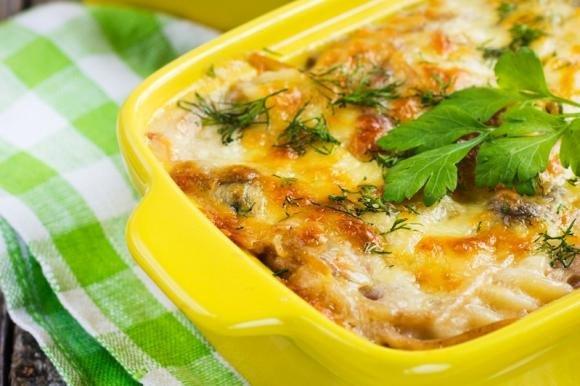 Pasta al forno con funghi, zucca e fontina