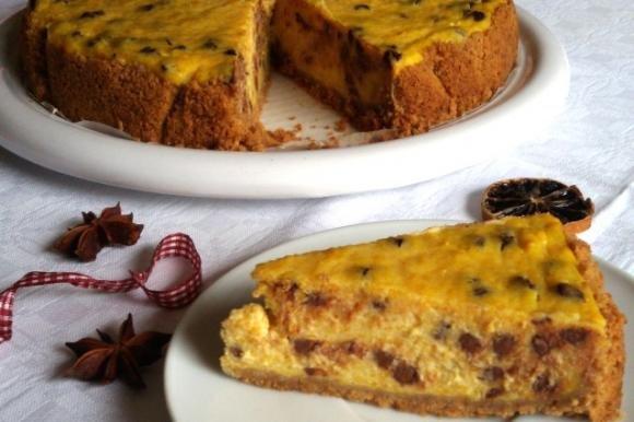 Cheesecake alla zucca con gocce di cioccolato