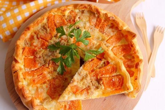 Quiche con zucca, tonno e gorgonzola