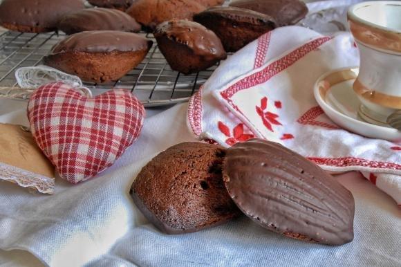 Madeleine al cioccolato fondente e miele di castagno