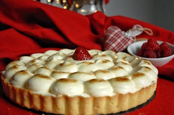 Crostata di lamponi con crema chiboust
