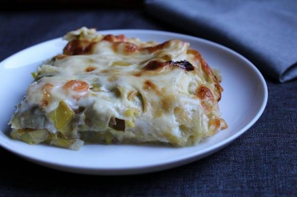 Lasagne con porri e gamberetti