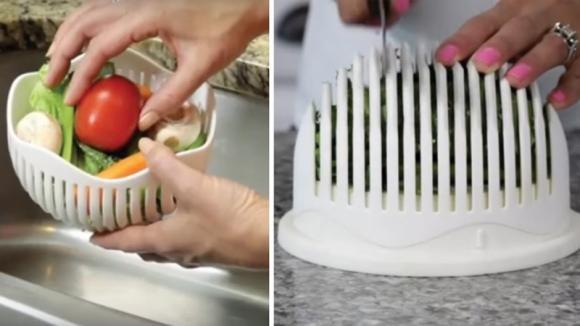 Sembra un normale contenitore ma vi permetterà di preparare l'insalata in un minuto