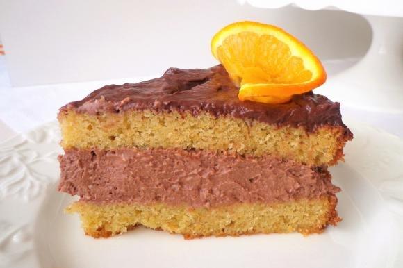 Torta all'arancia con crema al cioccolato