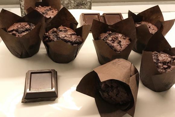 Muffin al doppio cioccolato senza lattosio