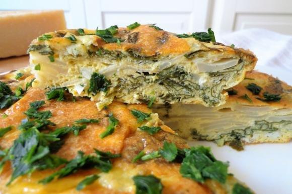 Frittata al forno con topinambur e spinaci