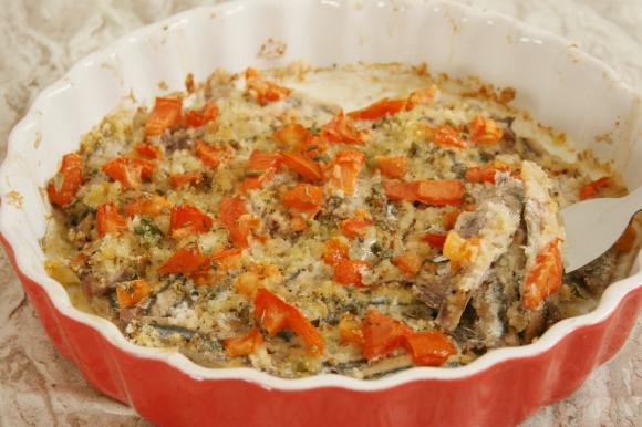 Alici al forno impanate con pomodorini