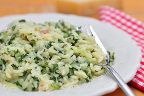 Risotto con spinaci e mozzarella