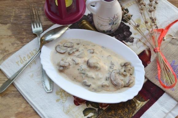 Pollo con gorgonzola, funghi e mascarpone
