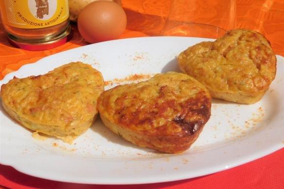 Cuori di patate con prosciutto e bottarga