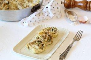Girelle di pasta con carne, fiori di zucca e besciamella