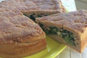 Torta salata integrale con ricotta, spinaci e prosciutto cotto