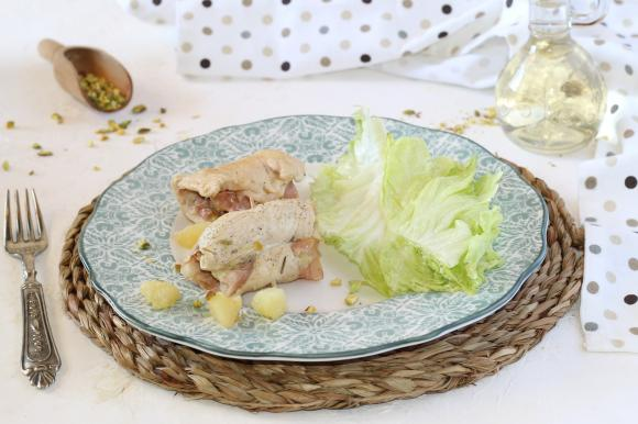 Involtini di pollo con mortadella e patate