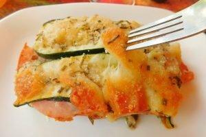 Tortino di zucchine, prosciutto e provola affumicata