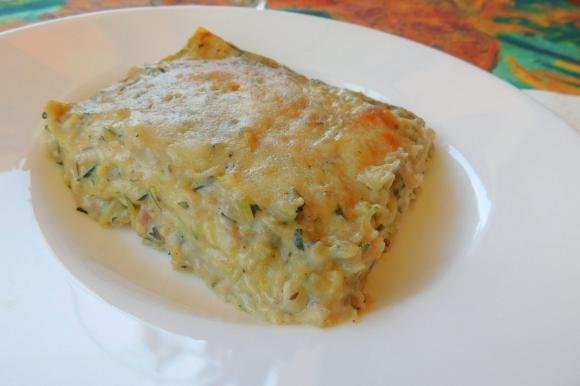 Lasagne di zucchine, pancetta e aroma di menta e limone