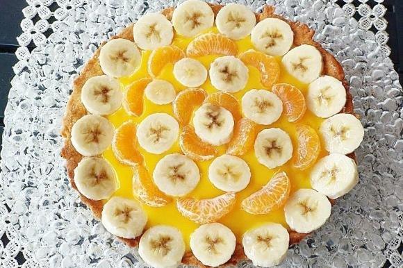 Crostata senza glutine con banane e mandarini